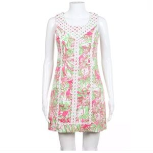 Lilly Pulitzer dress pink green white 0 embroidery